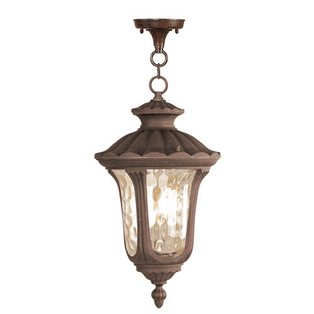 Outdoor Pendants 3 Light With Hand Blown Light Amber Water Glass Imperial Bronze size 11 in 180 Watts - World of Crystal