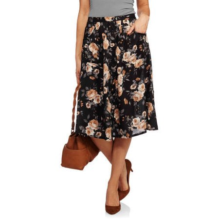 French Laundry Printed Button Front Midi Skirt with Pocket Detail
