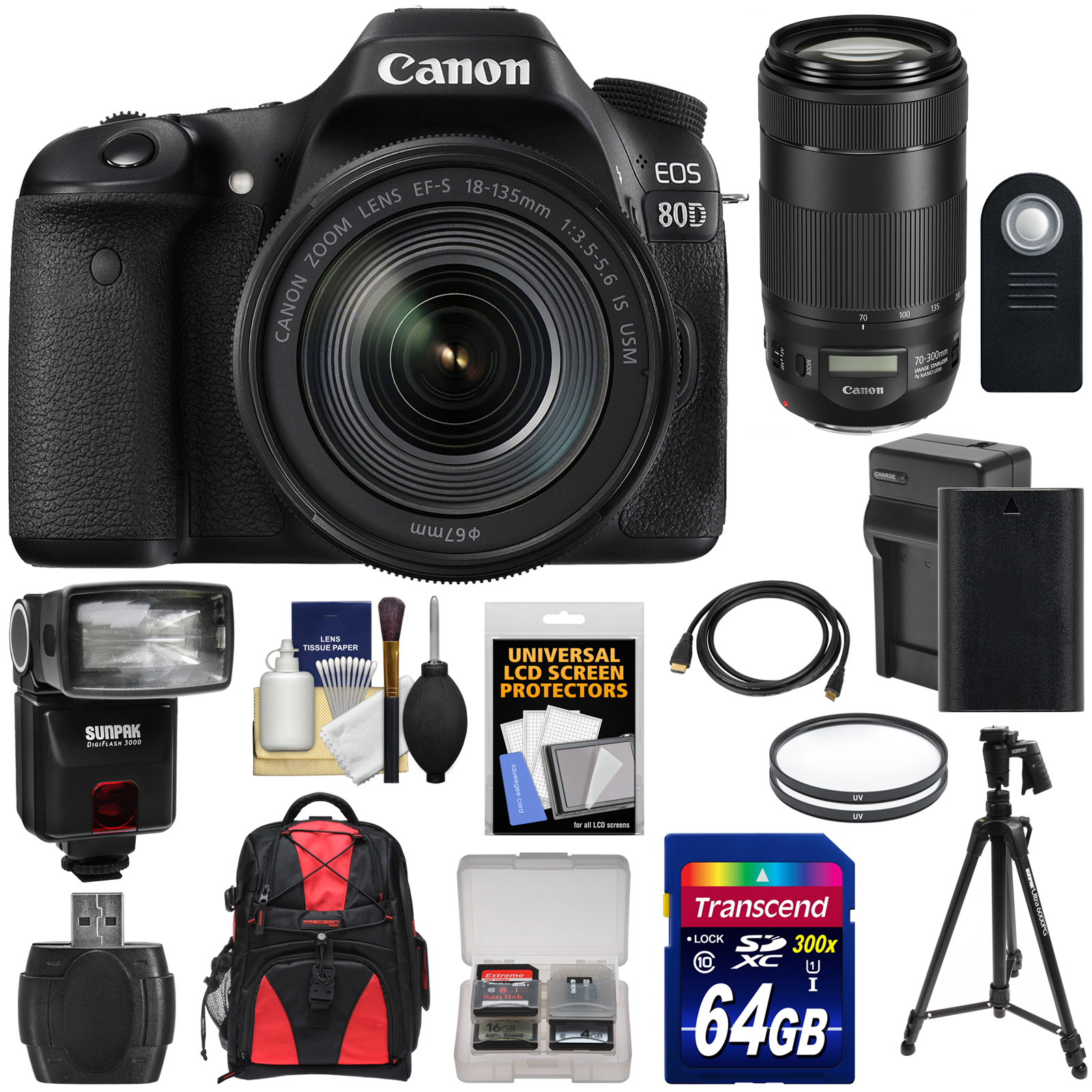 Canon EOS 80D Wi-Fi Digital SLR Camera & 18-135mm IS USM with 70-300mm Lens + 64GB Card + Battery + Charger + Backpack +... by Canon