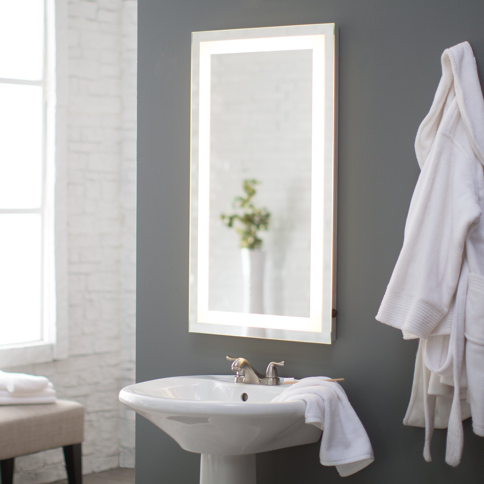 Bathroom Mirrors Backlit afina illume led backlit rectangular bathroom mirror - walmart