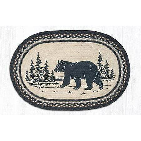 BLACK BEAR SILHOUETTE 100% Natural Braided Jute Rug, 20