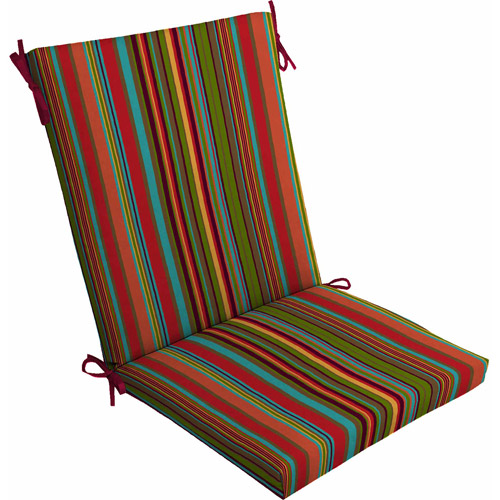 Mainstays Outdoor Dining Chair Cushion, Bright Stripe