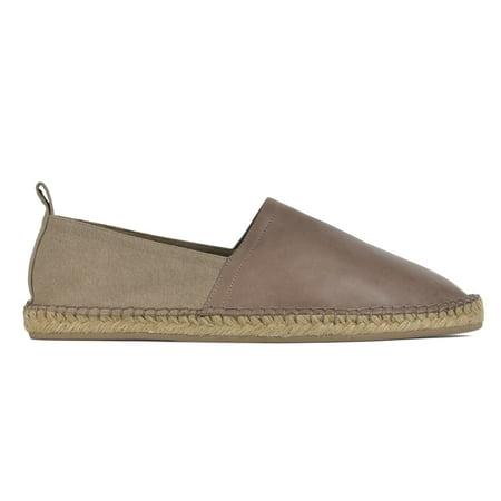 Brown Espadrille - Brunello Cucinelli Mens Brown Leather Canvas Espadrille Slip Ons