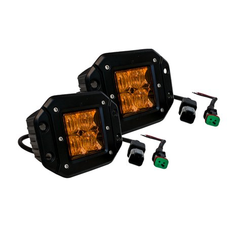 Amber 4D Flush Mount OZ-USA® Pod LED flood lights fog utv offroad 3x3 race truck van racing
