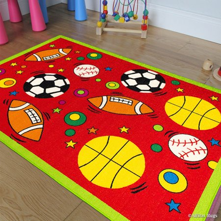 Allstar Kids / Baby Room Area Rug. Sports. Football. Basketball. Soccer and Baseball. Bright Red Colors (4' 11