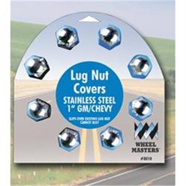 Wheelmaster 8010 1 inch Stainless Stell Lug Nut Cover, 8 Pack
