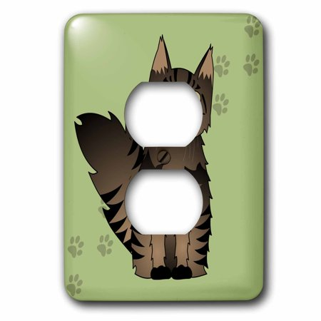 3dRose Cute Maine Coon Cartoon Cat - Brown Tabby - Green with Pawprint - 2 Plug Outlet Cover (lsp_35505_6)