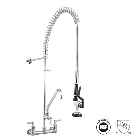 Aquaterior Commercial Wall Mount Pre-Rinse Faucet Double Handle Brass w/ 12