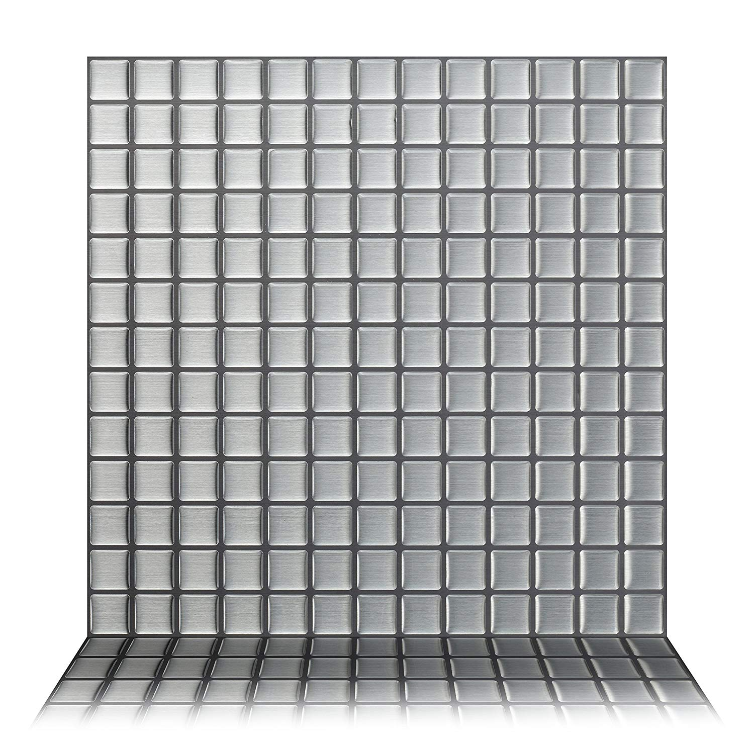 Tic Tac Tiles - Premium Anti Mold Peel and Stick Wall Tile Backsplash in Stainless Square (5-Tiles)