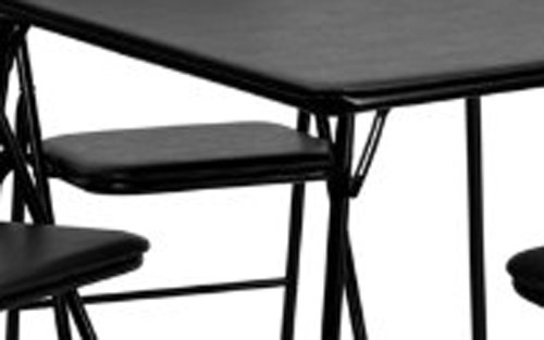 5 Piece Black Folding Card Table and Chair Set by