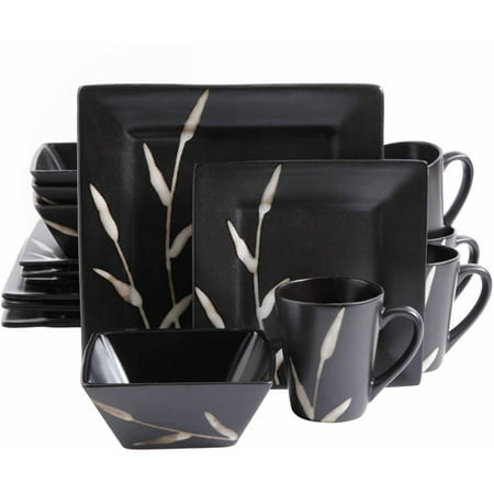 16 piece natural edge square dinnerware set black