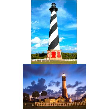 LIGHTHOUSE:  2 Lenticular 3D Postcard Greeting Cards - Cape Hatteras at Dusk