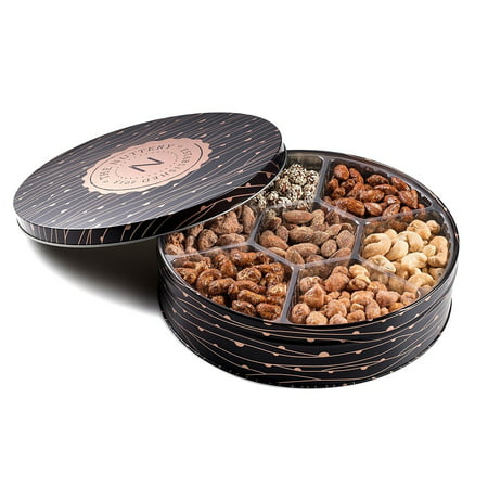 Mix Sweets Gift Box - The Nuttery Metal Tin Gift Box, Mixed Nuts Gift Tray, 7 Section Nut Gift Box (7 Secional Metal Tin)