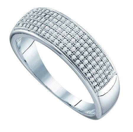 10K White Gold 0.33CT Shiny Micro-Pave Round Cut Diamond Mens Fashion Band Ring
