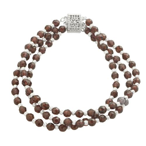Imperial-Deltah Sterling Silver 3-row Garnet  Brilliance Bead 7.5-inch Bracelet by Overstock