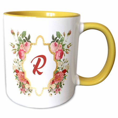 - 3dRose Chic Monogram Letter R In A Gold Flowered Frame On White - Two Tone Yellow Mug, 11-ounce