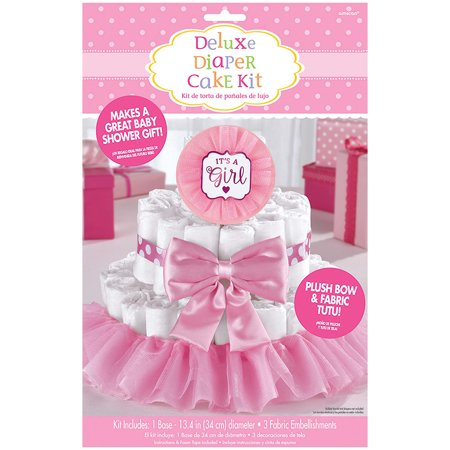 It's a Girl Pink Baby Shower Diaper Cake Decorating - Office Baby Shower Ideas