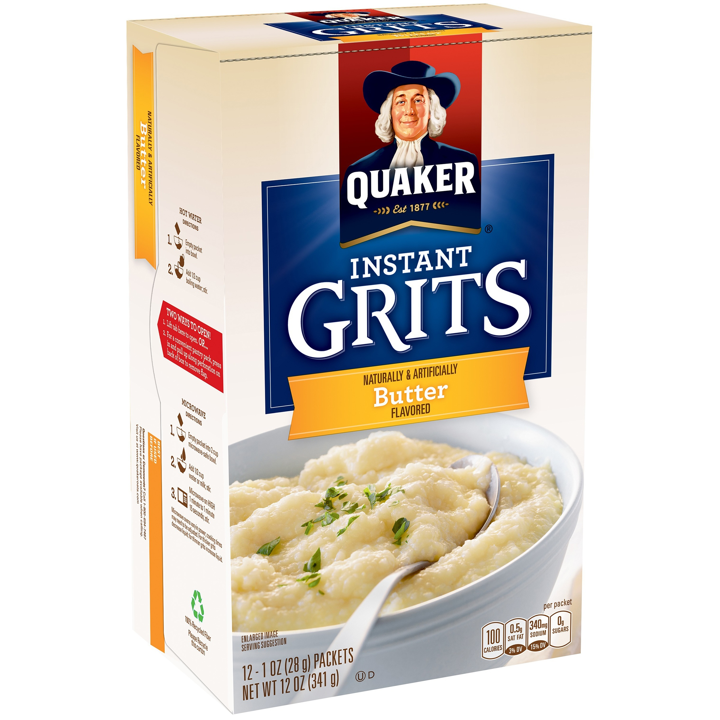 Quaker Instant Grits, Butter Flavor, 12 Count, 1 oz Packets