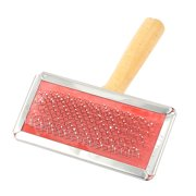 Wooden Handle Pet Dog Cat Hair Fur Grooming Shedding Comb Brush Tool Red Beige