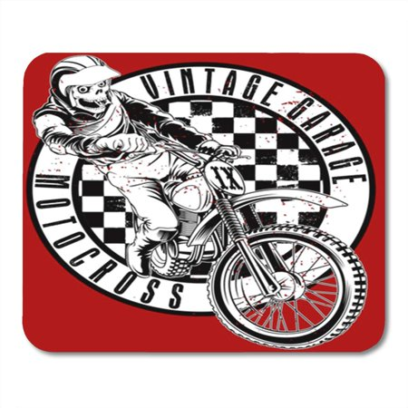 LADDKE Motocross Skull and Vintage Motorcycle Garage Circuit Man Old Champion Mousepad Mouse Pad Mouse Mat 9x10 inch