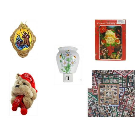 Christmas Fun Gift Bundle [5 Piece] - Holy Family Nativity Porcelain Ornament - Vintage Designed Stocking Hanger Santa - Flower Nightlight Lily - Commonwealth Shar pei   14