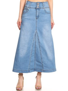 6023579fd2 Product Image Women's Juniors High Rise A-Line Long Jeans Maxi Flared Denim  Skirt