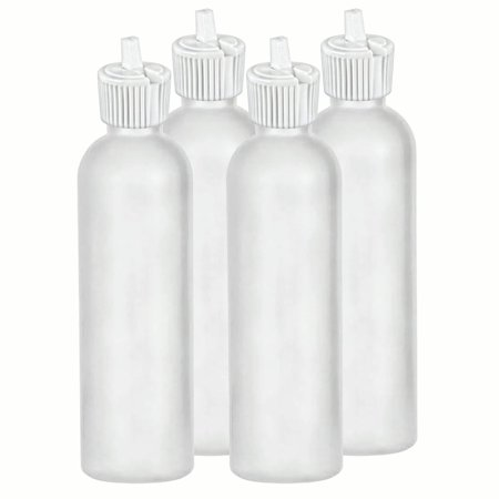 MoYo Natural Labs HDPE Container Commercial Grade Industrial Turret Style Spout Top 4 oz Container Food Bottle with Toggle Adjustable Dispenser Dripping Bottle Pack of 4