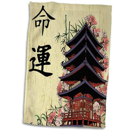3D Rose Beautiful Japanese Pagoda with Pink Sakura and Bamboo Destiny Luck Kanji Symbols Asian Design Hand Spo