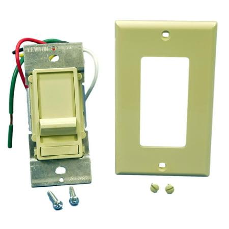 Leviton Ivory Decora Slide Dimmer Switch Fluorescent 2-12 Bulbs Single Pole Preset 480W 277V 6661-P7I Ivory Decora Slide