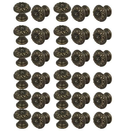 Cabinet Cupboard Single Hole Metal Round Pull Knob Bronze Tone 30PCS