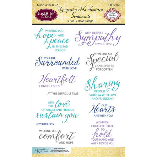 "JustRite Papercraft Clear Stamps 4""X6""-Sympathy Handwritten Sentiments"