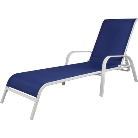 Sling chaise lounger coastal for Blue sling chaise lounge