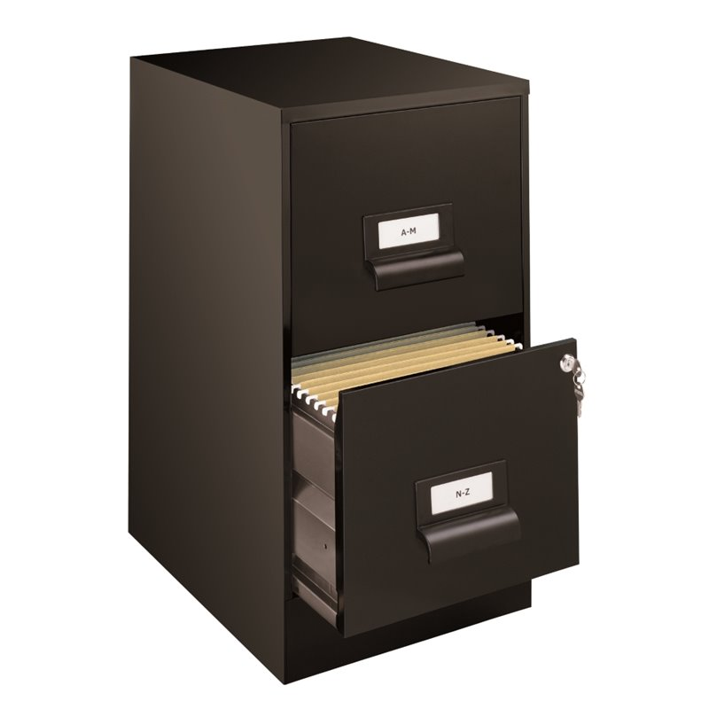 "Hirsh Space Solutions 18"" Deep 2 Drawer Premier File Cabinet in Black"