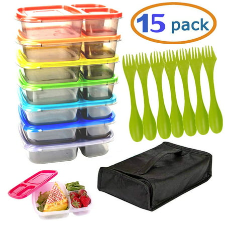 Meal Prep Containers Bento Lunch Box 7 Pack Microwave, With 7 Utensils and carrying case. Dishwasher and Freezer Safe Food Storage Container Boxes for Kids &