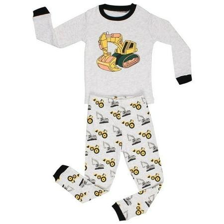 Elowel Baby Boys Grey Yellow Bulldozer Print Cotton 2 Pc Pajama Set