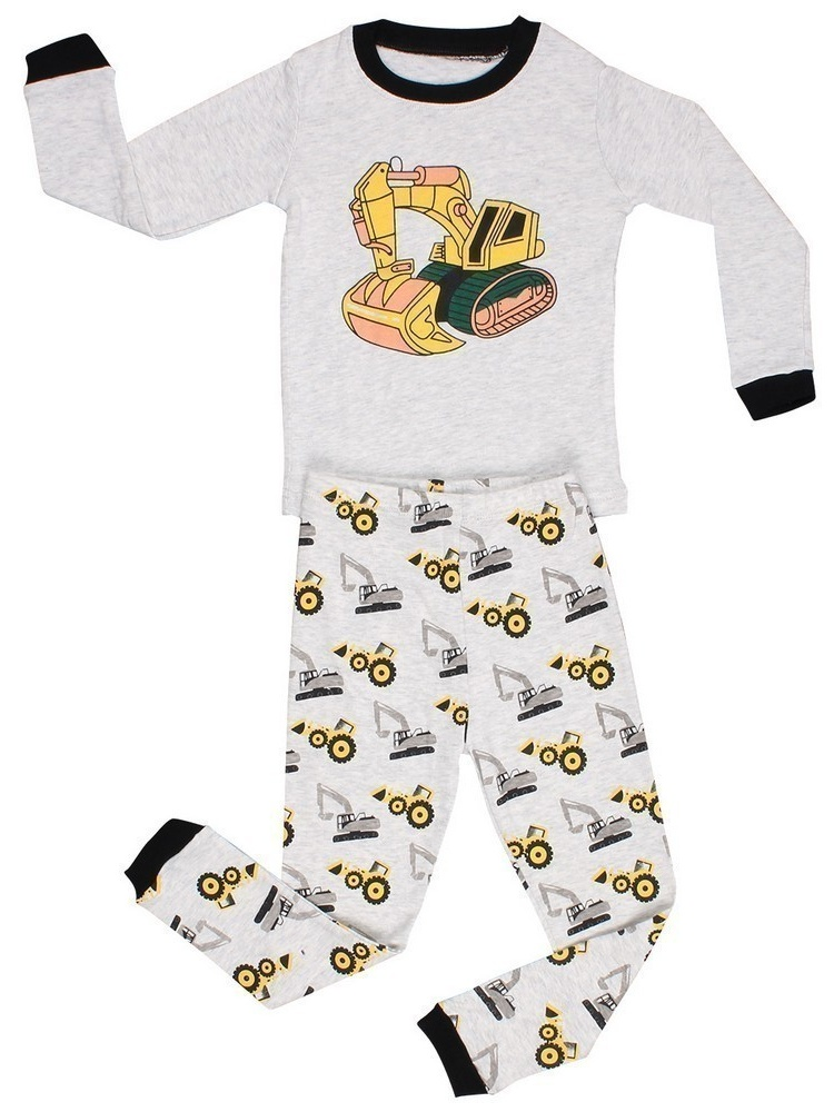 Elowel Baby Boys Grey Yellow Bulldozer Print Cotton 2 Pc Pajama Set
