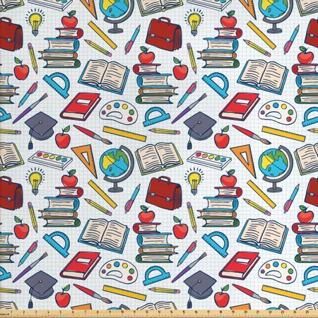 School Fabric by The Yard, Elementary School Theme Student Supplies Globe Paints and Brushes Books Education, Decorative Fabric for Upholstery and Home Accents, by covid 19 (Globe Weis Fabric coronavirus)
