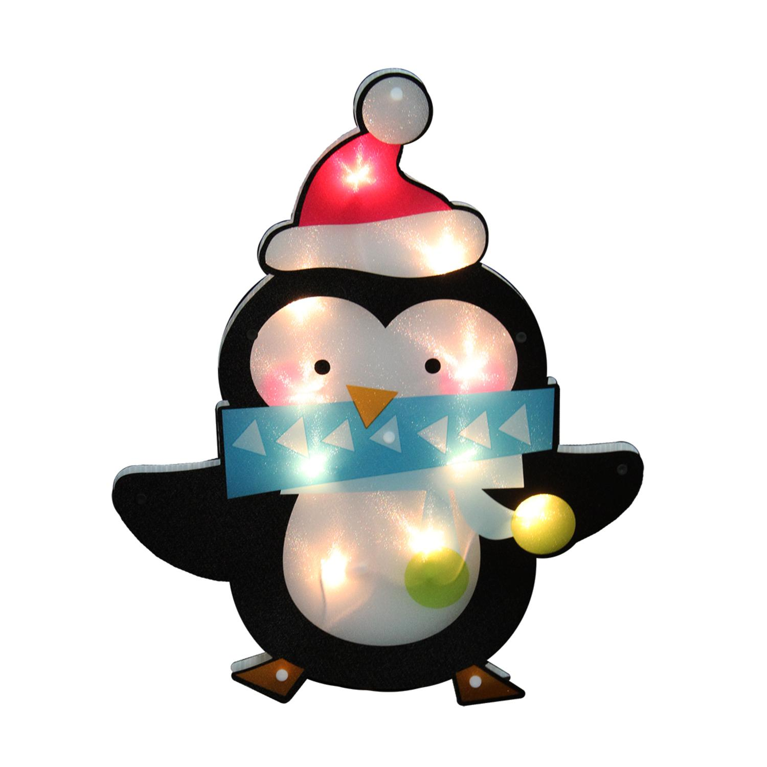 "17"" Lighted Shimmering Penguin with Santa Hat Christmas Window Silhouette Decoration"