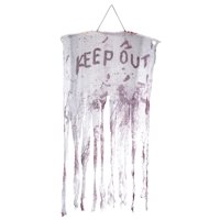 """50"""" White and Red """"KEEP OUT"""" Bloody Hanging Halloween Decoration"""