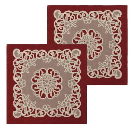 """Emily 18"""" x 18"""" Lace and Embroidery Applique Pillow Covers, Set of 2"""
