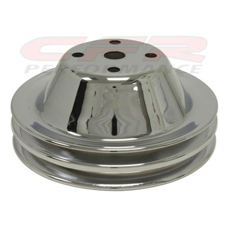 CFR HZ-9605-C 1969-85 Chevy Small Block Chrome Steel Water Pump Pulley - Long, 2 (Chevy Astro Water Pump)