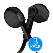 Headphones - In-Ear HD Stereo Noise Cancelling Sweatproof Sport Earphones Earbuds Flat Wired with Apple iOS Samsung and Android Compatible Microphone and Remote 3.5mm (Black 3-Pack)