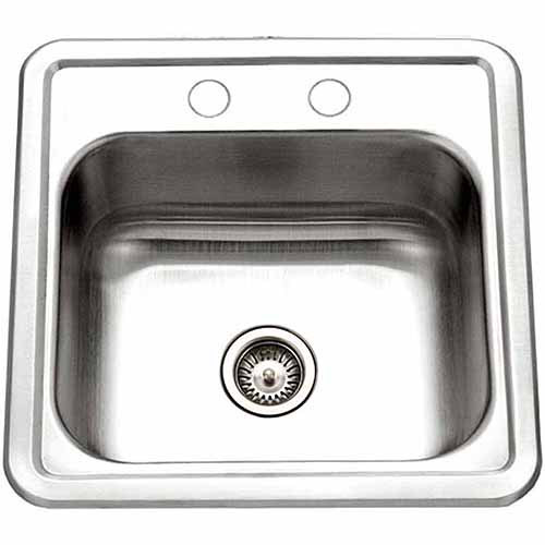 Houzer 1515-6BS-1 Hospitality Series Topmount Stainless Steel Single Bowl Bar/Prep Sink