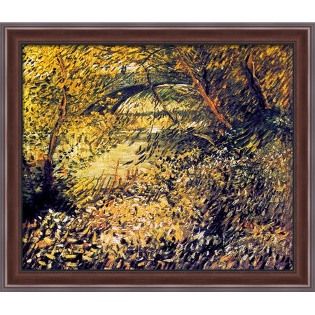 Banks Of The Seine In The Spring 34X28 Large Walnut Ornate Wood Framed Canvas Art By Vincent Van Gogh