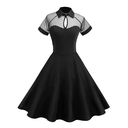 Women Summer Vintage 50s 60s Cocktail Evening Party Rockabilly Retro Mesh Swing Dress - 50s Party