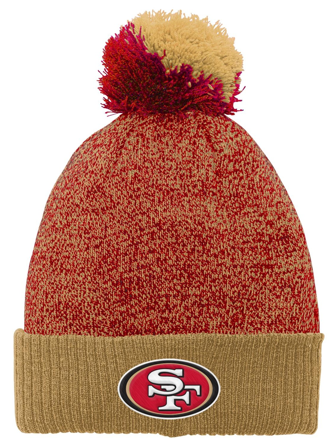"""San Francisco 49ers Youth NFL """"Basic"""" Cuffed Knit Hat w  Pom by Outerstuff"""