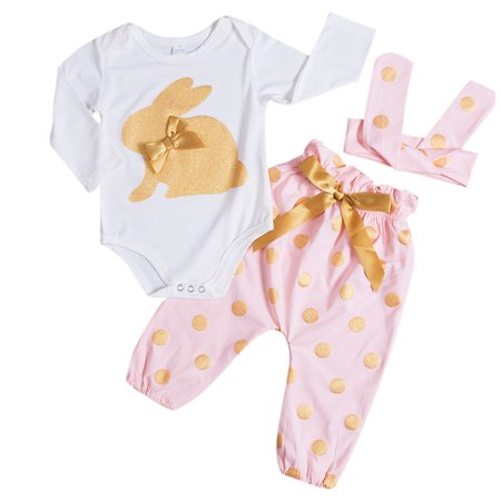 3PCS Baby Girls Outfits Long Sleeve Rabbit Romper With Polka Dot Pant And Headband
