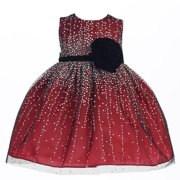 Baby Girls Red Velvet Flower Sash Sequin Dress 18M