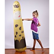 Kid Tough Fitness Inflatable 5FT Free-Standing Punching Bag + Machine Washable Fabric Cover Hunter Giraffe Kids Workout Buddy by Bonk Fit