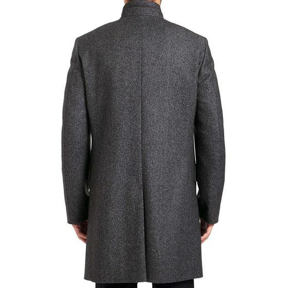 26c525f99ce Hugo by Hugo Boss Mens C-Sintrax Band Collar Coat 36R Dark Grey Overcoat -  Walmart.com